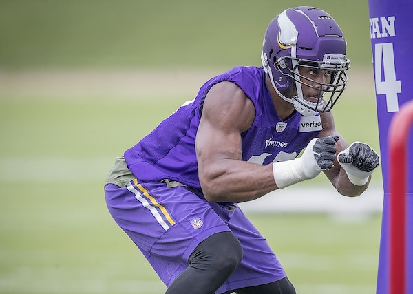 Defensive end Danielle Hunter took to the field during minicamp earlier this month.