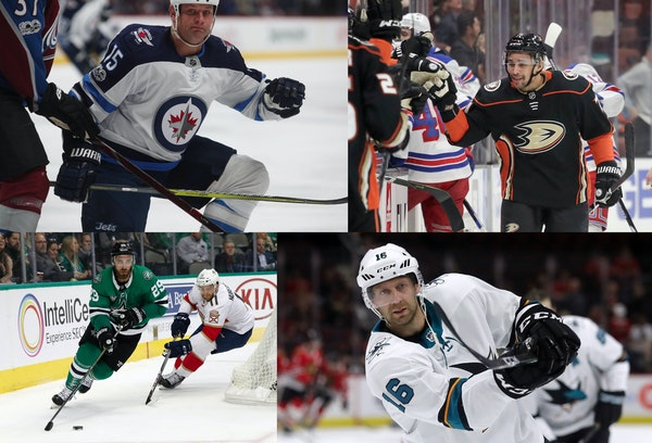 New players on the Wild after signing as free agents on Sunday include, clockwise from top left, Matt Hendricks (formerly with Winnipeg), J.T. Brown (