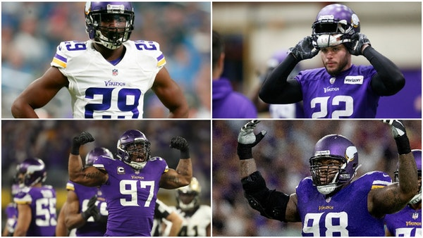 (Clockwise top right) Vikings defenders Harrison Smith, Linval Joseph, Everson Griffen and Xavier Rhodes