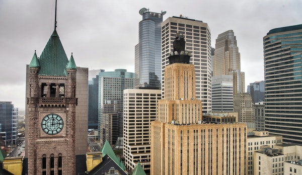 The Minneapolis skyline, including City Hall, at left. The city's population grew by 40,000 over the past 20 years and is expected to grow by anothe