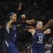 Lynx forward Maya Moore, left, and guard Lindsay Whalen congratulated Sylvia Fowles on drawing a fourth quarter foul.