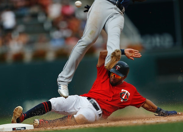 When Eddie Rosario slid safely into third base Sunday, things were going well for the Twins. When he scored on a throwing error on the same play, thin