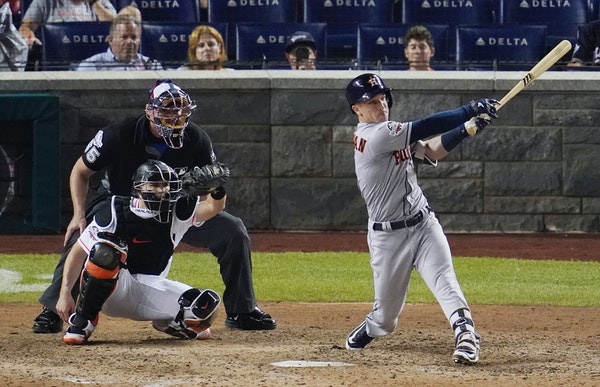 Alex Bregman of the Astros hit a solo home run during the All-Star game on Tuesday night. It was one of 10 hit in the game, a record.