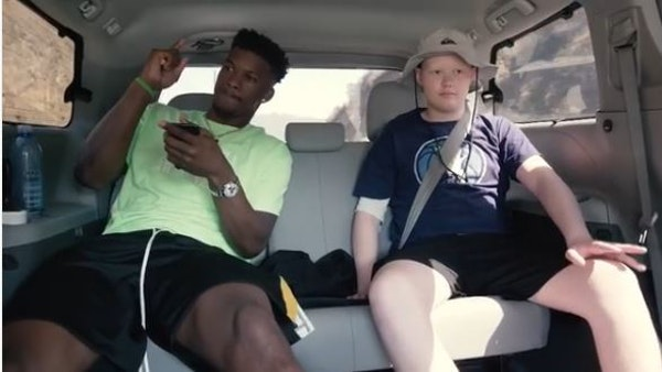 """Jimmy Butler and Ethan Whitney rocked out to """"The Devil Went Down to Georgia"""" while the two were hanging out as part of ESPN's """"My Wish"""" series."""