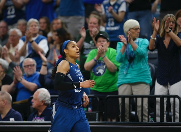 Minnesota Lynx forward Maya Moore celebrated during a game earlier this month. The Lynx won on Friday night.
