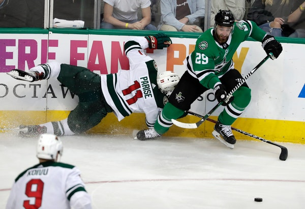 Stars defenseman Greg Pateryn, here going after the puck against the Wild in March, is an unsigned righthanded shooter the Wild is expected to sign in