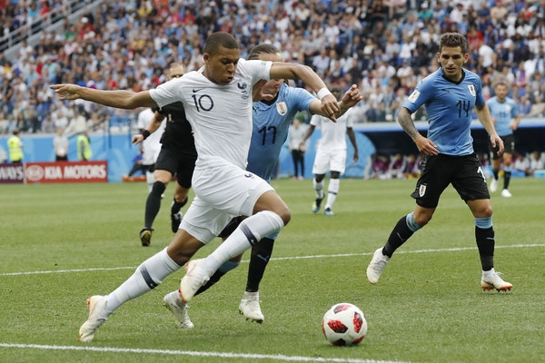 France's Kylian Mbappe, only 19, could someday replace Cristiano Ronaldo and Lionel Messi as the game's biggest star. (AP Photo/Petr David Josek)