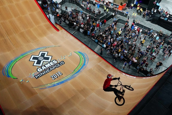 Douglas Oliveira competes in The Real Cost BMX Big Air Final on Friday