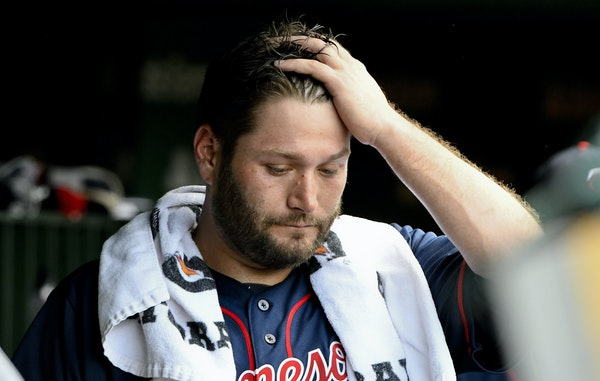 MATT MARTON • Associated Press Twins rightander Lance Lynn stood in the dugout after being pulled during a disasterous second inning against the Cub