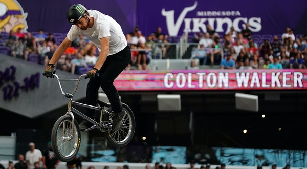Defending champion Colton Walker competed in the BMX Dirt final on Saturday, finishing off the X Games podium against a high-scoring field.