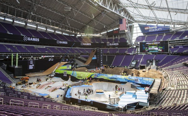 BMX and Motocross riders will start their runs 20 rows into the crowd at U.S. Bank Stadium for X Games 2018.