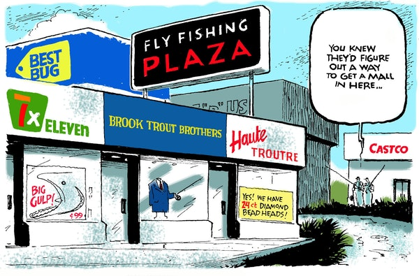 """An illustration by Jack Ohman from """"An Inconvenient Trout,'' one of his fly fishing humor books."""
