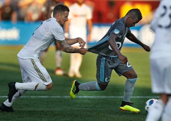 Minnesota United forward Darwin Quintero went on the attack and was fouled by LAFC's Jordan Harvey. Quintero scored a goal and had two assists in the