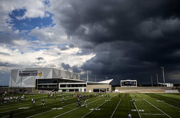 Storm clouds over TCO Performance Center during Vikings training camp in 2018.