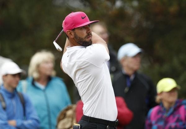 Erik Van Rooyen of South Africa plays a shot off the 14th tee during the second round of the British Open Golf Championship in Carnoustie, Scotland, F