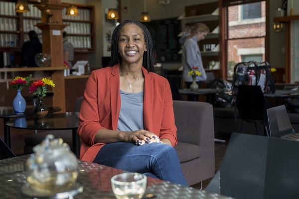Tamika Catchings, a former star of the Indiana Fever, poses for a portrait inside Tea's Me Cafe in Indianapolis in 2017.