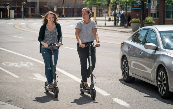Sophie Konewko and Megan Albers took two Bird scooters for a ride through downtown Minneapolis.