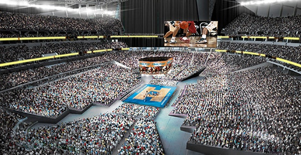 An artist's rendering of how basketball could look at U.S. Bank Stadium.