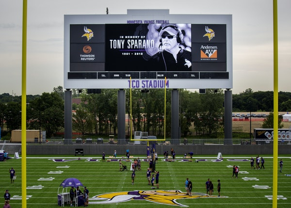 A tribute to offensive line coach Tony Sparano loomed above the Vikings' first training camp practice in Eagan.
