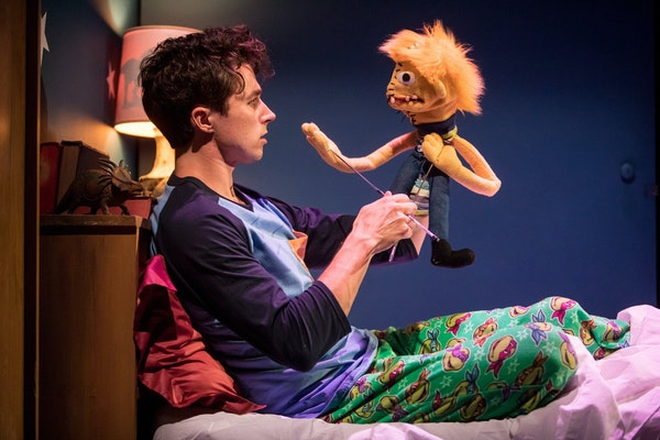 """Riley O'Toole and """"Tyrone"""" in """"Hand to God"""" at the Jungle Theater."""