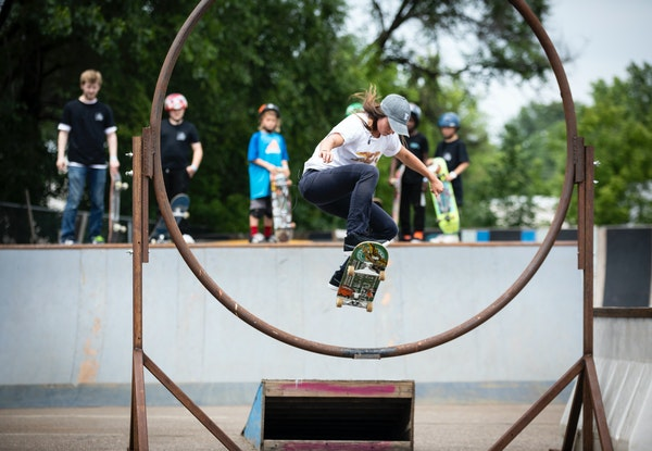 Nicole Hause skated with other kids at 3rd Lair Skate Park last month.
