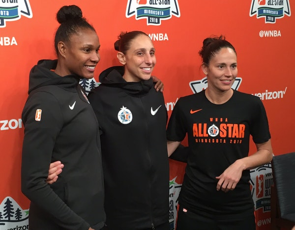 Rebekkah Brunson (from left), Diana Taurasi and Sue Bird -- the WNBA's all-time leaders, respectively, in rebounds, points and assists.
