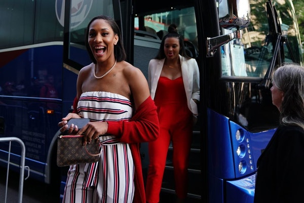Las Vegas Aces forward A'ja Wilson, signing autographs for WNBA fans Friday night in downtown Minneapolis, is the face of a rookie class that could go
