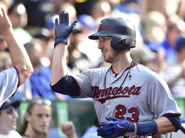 Minnesota Twins' Mitch Garver (23) celebrates his home run against the Toronto Blue Jays during the sixth inning of a baseball game Wednesday, July