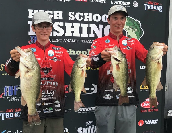 Alex Timm, left, and Easton Fothergill of Grand Rapids placed in the top 10 in a national bass-fishing contest in Florence, Ala.