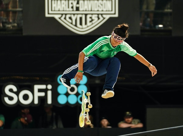 Mariah Duran, who went on to win a gold medal in the event, competed in the SoFi Women's Skateboard Street Final on Saturday.