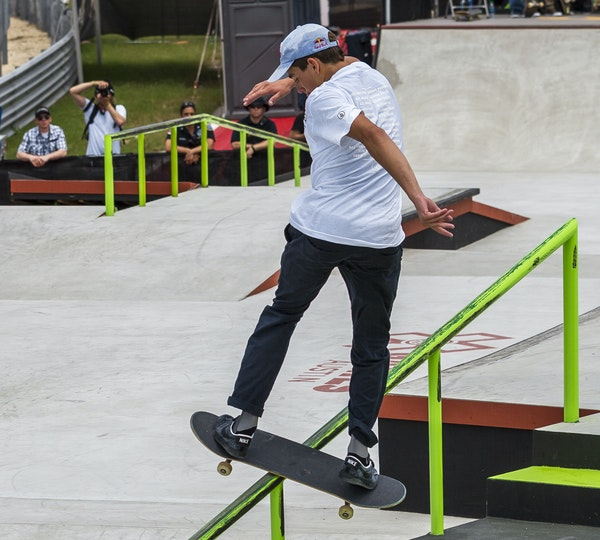 Alex Midler performs a backside lipslide during a Street AM competition in Austin, Texas.