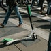 FILE -- A scooter on the sidewalk in downtown San Francisco, April 16, 2018. Doctors and public health workers in San Francisco are preparing to track