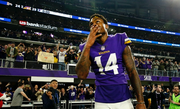 Vikings receiver Stefon Diggs walked off the field Sunday after the Vikings' 29-24 victory vs. the Saints in which he scored the game-winning 61-yard