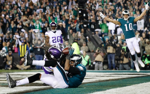 Alshon Jeffery caught a touchdown pass defended by Trae Waynes during the NFC Championship game. GM Rick Spielman says the Vikings have moved on