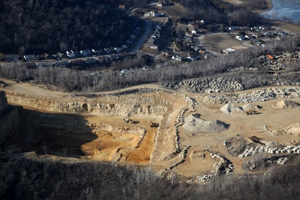 Aerial views of the Biesanz Stone Company's frac sand mining operation, file photo from 2016.