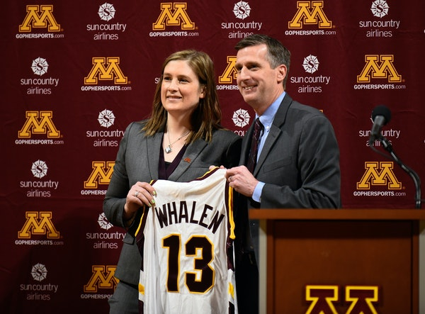 Lindsay Whalen was introduced as Gophers women's basketball coach by athletic director Mark Coyle on April 13.
