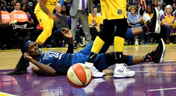 Lynx center Sylvia Fowles eyes the ball after turning it over to the Los Angeles Sparks in the second half