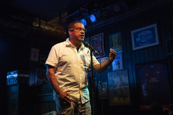 Rep. Keith Ellison spoke to the crowd at Nomad World Pub in Minneapolis after winning the DFL nomination for Minnesota attorney general on Tuesday.