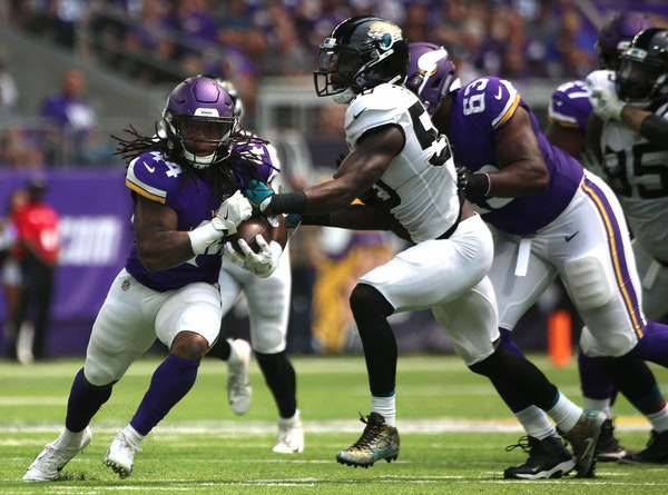 Running back Mike Boone gained 91 yards on 13 carries, including a 26-yard burst that turned out to be the Vikings' longest play of the day, in a 14