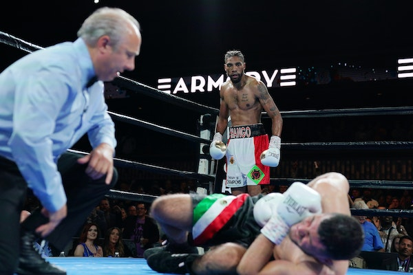 Jamal James reacted after he knocked out opponent Mahonry Montes in the welterweights class.