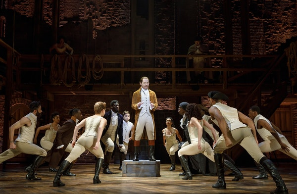 """Joseph Morales, center, stars in the touring company of """"Hamilton"""" that begins a six-week stand at the Orpheum Theatre on Wednesday."""