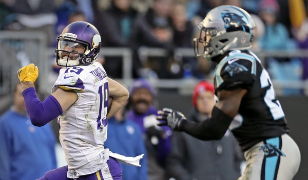 """If 1,200 yards is the new standard for an elite receiver, Adam Thielen is the only """"elite"""" receiver the Vikings have had since 2009. Thielen gaine"""