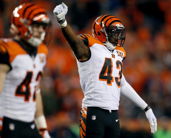 George Iloka celebrated during a game vs. the Broncos last season. Iloka, a safety, signed with the Vikings on Wednesday.