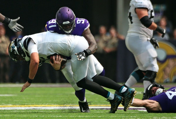 Vikings defensive end Stephen Weatherly sacked Jaguars quarterback Blake Bortles during the second quarter Saturday at U.S. Bank Stadium.
