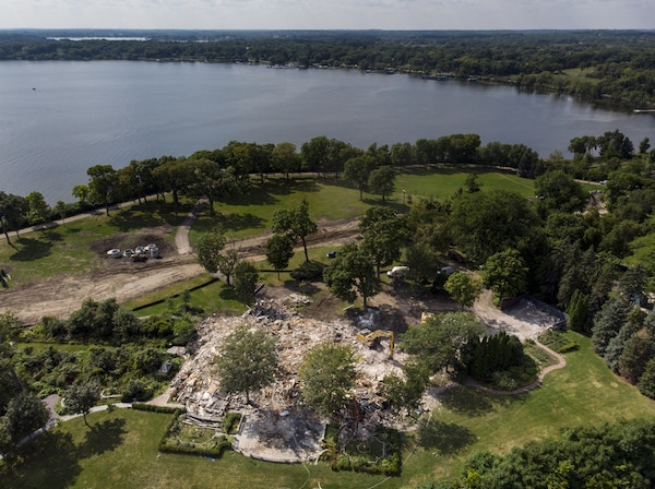 The demolished remains of the Pillsbury Mansion were photographed Wednesday in Orono.