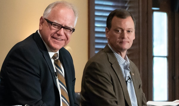 Candidates for governor Tim Walz, left, and Jeff Johnson had their first debate at Grand View Lodge in Nisswa early Friday.