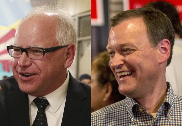Tim Walz, left, and Jeff Johnson, right, debated Friday at the Minnesota State Fair.