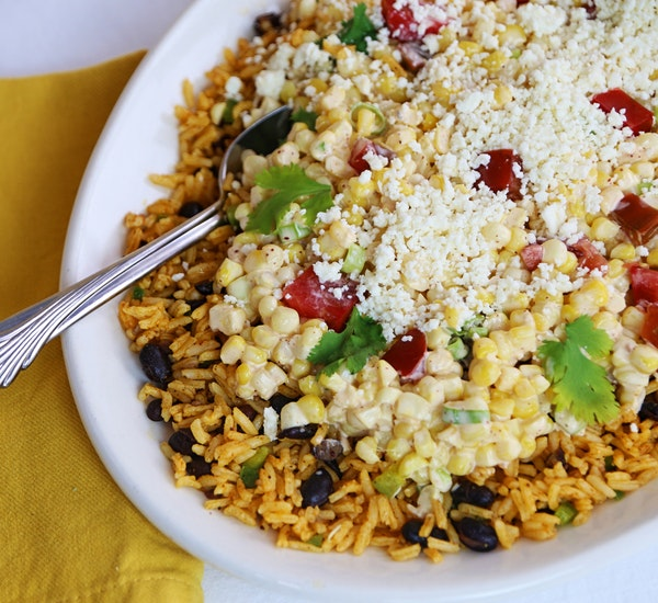Yellow Rice and Elote Salad.