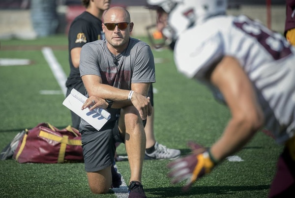 Minnesota Head Coach P.J. Fleck watched over practice earlier this month.