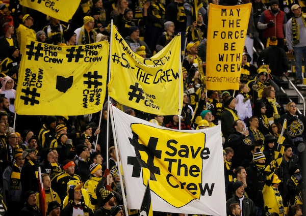 Columbus Crew fans show their support for the team last October before the start of their team's MLS Eastern Conference semifinal soccer match against